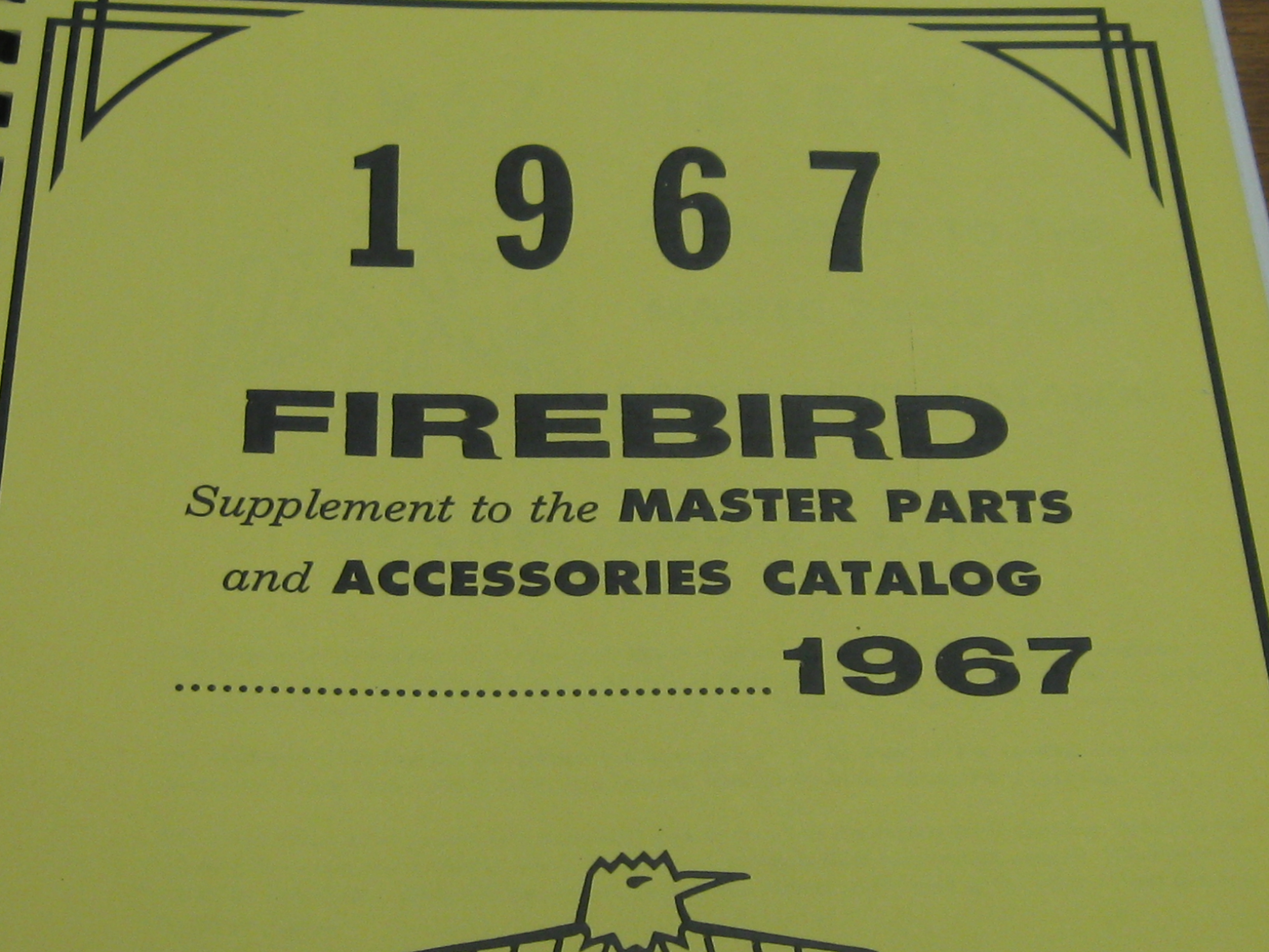 1967 Pontiac Firebird Parts Catalog Supplement